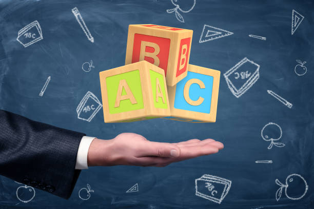 a businessman's hand turned palm up with big abc blocks hovering above it - alphabetical order stock pictures, royalty-free photos & images