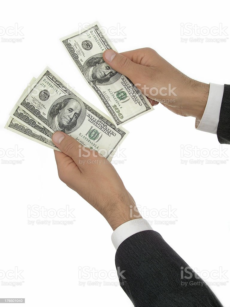 Businessman's Hands Counting Money royalty-free stock photo