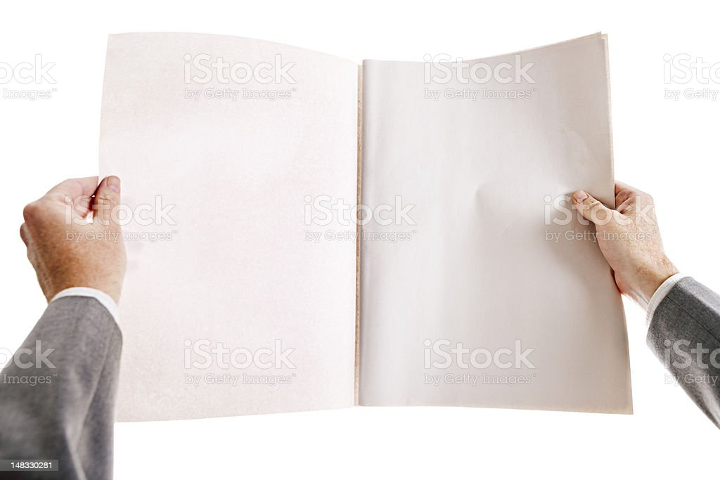 Businessman's hands hold blank newspaper royalty-free stock photo