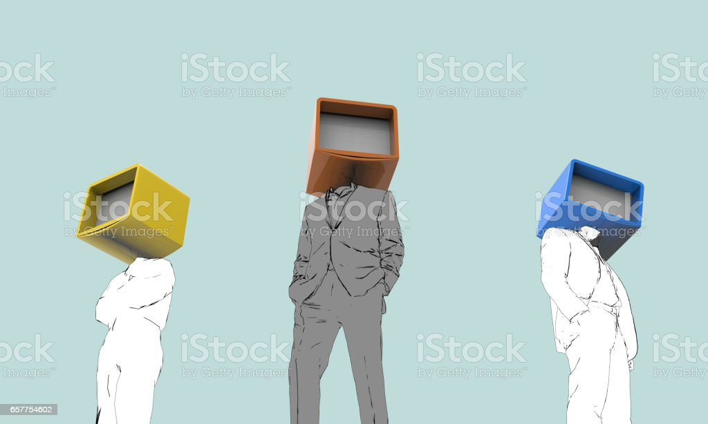 Businessmans teamwork lifestyles Concept and Mask Drawing stock photo