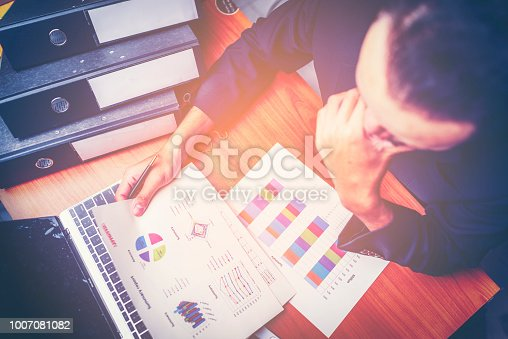1024730528 istock photo Businessmen are analyzed data from report using smartphone and laptop computer. 1007081082