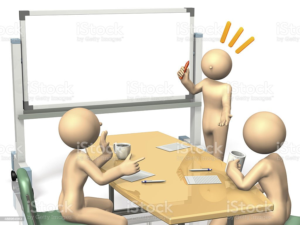 Businessmen are eager to brainstorm ideas. stock photo