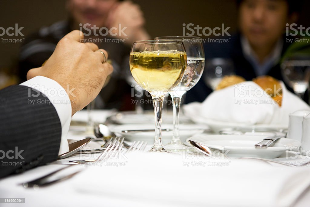 Businessmen at restaurant stock photo