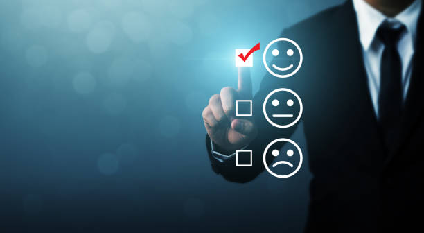 Businessmen choose to rating score happy icons. Customer service experience and business satisfaction survey concept Businessmen choose to rating score happy icons. Customer service experience and business satisfaction survey concept questionnaire stock pictures, royalty-free photos & images