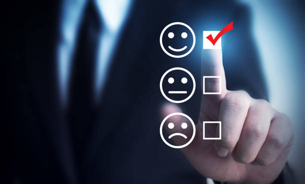 Businessmen choose to rating score happy icons. Customer service experience and business satisfaction survey concept Businessmen choose to rating score happy icons. Customer service experience and business satisfaction survey concept customer engagement stock pictures, royalty-free photos & images
