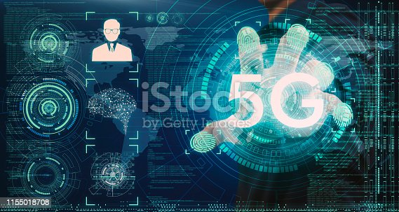 istock Businessmen connect data through modern systems of 5G technology through the most advanced security systems via 5G wireless internet, data connection around the world. 1155018708