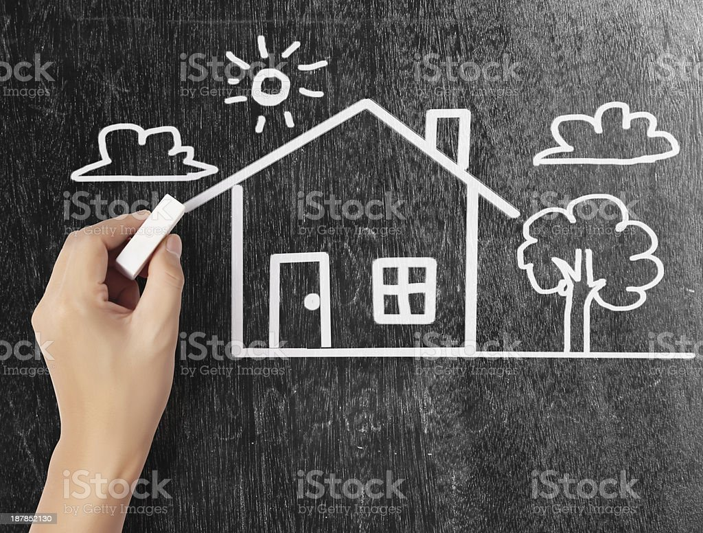 businessmen drawing the house stock photo