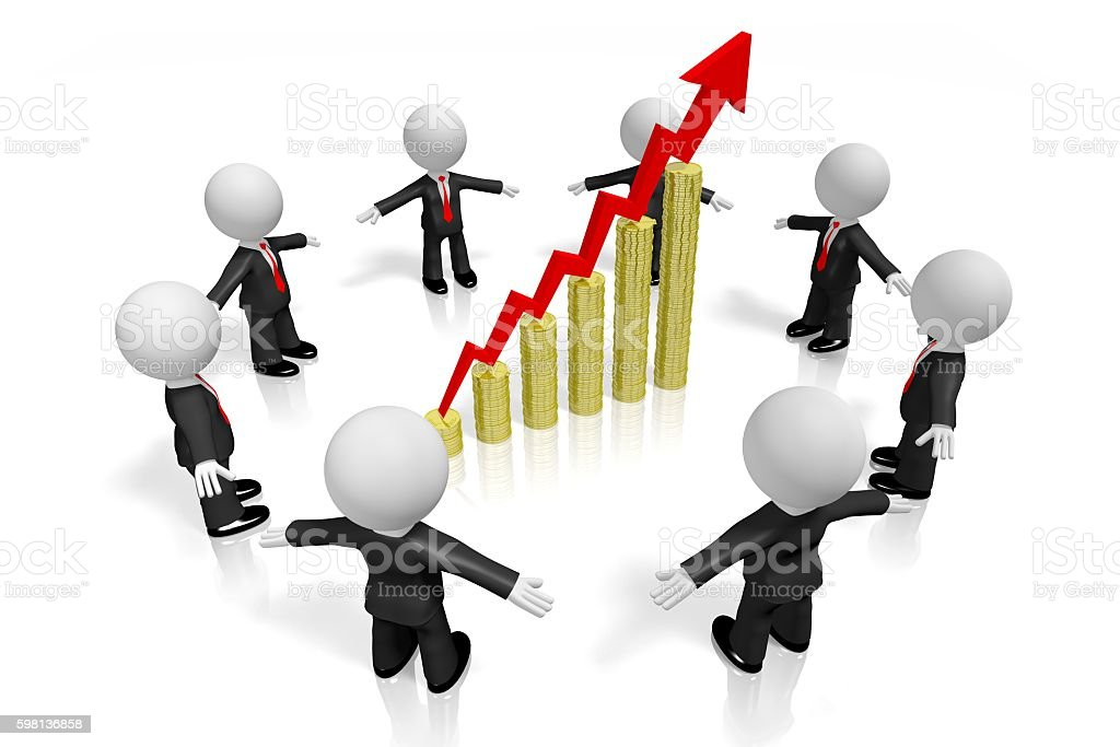 3D businessmen, growth chart concept stock photo