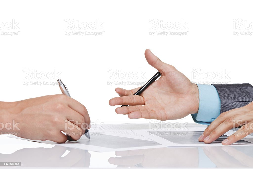 businessmen hands sign up contract royalty-free stock photo