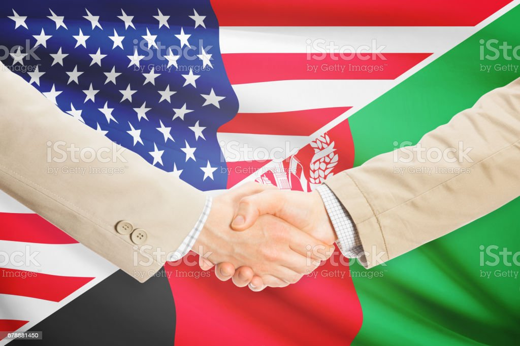 Businessmen handshake - United States and Afghanistan royalty-free stock photo