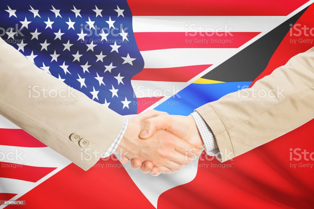 Businessmen handshake - United States and Antigua and Barbuda stock photo