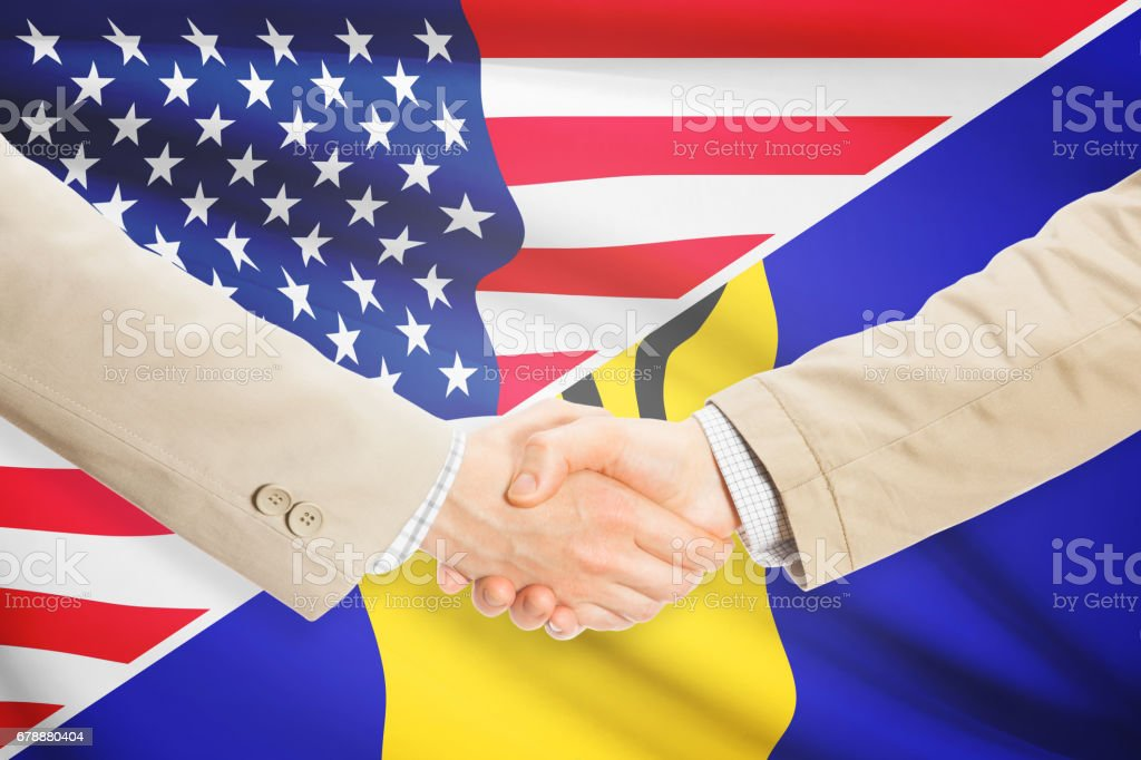 Businessmen handshake - United States and Barbados royalty-free stock photo