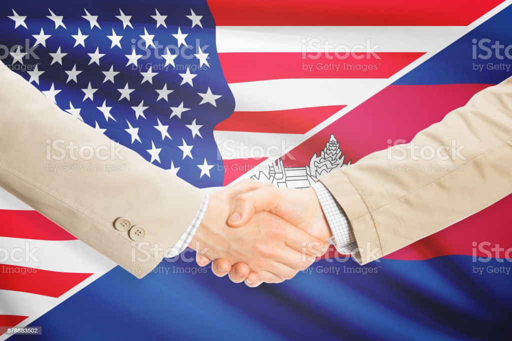 Businessmen handshake - United States and Cambodia royalty-free stock photo