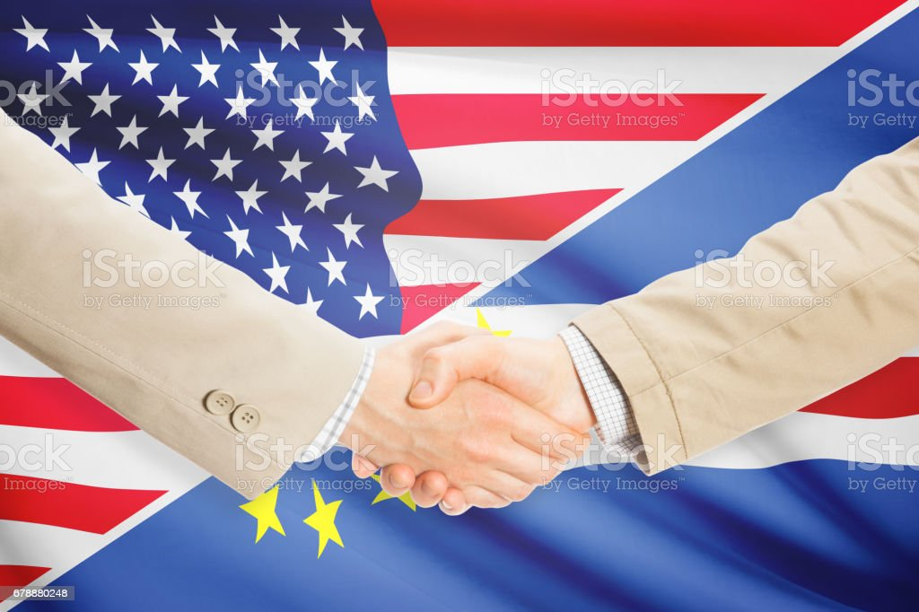 Businessmen handshake - United States and Cape Verde royalty-free stock photo
