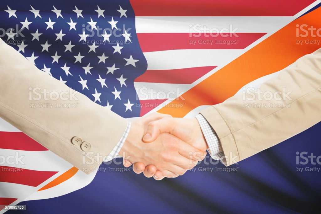 Businessmen handshake - United States and Marshall Islands royalty-free stock photo