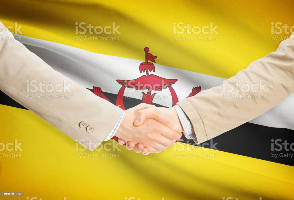 Businessmen handshake with flag on background - Brunei royalty-free stock photo