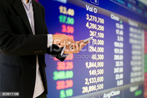 istock Businessmen hold a smartphone financial information stock market 825611198
