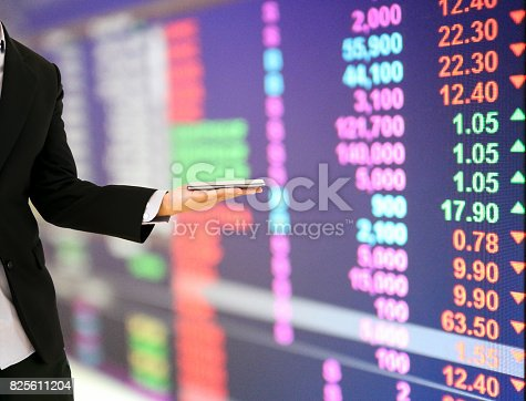 istock Businessmen hold a smartphone financial information stock market 825611204