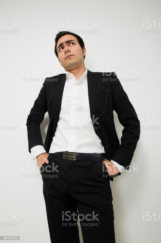 Businessmen look dull stock photo