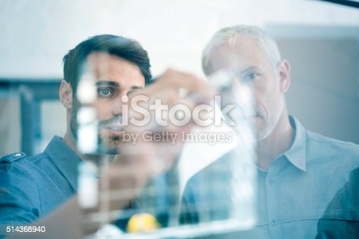 istock Businessmen making plan on glass wall in office 514368940