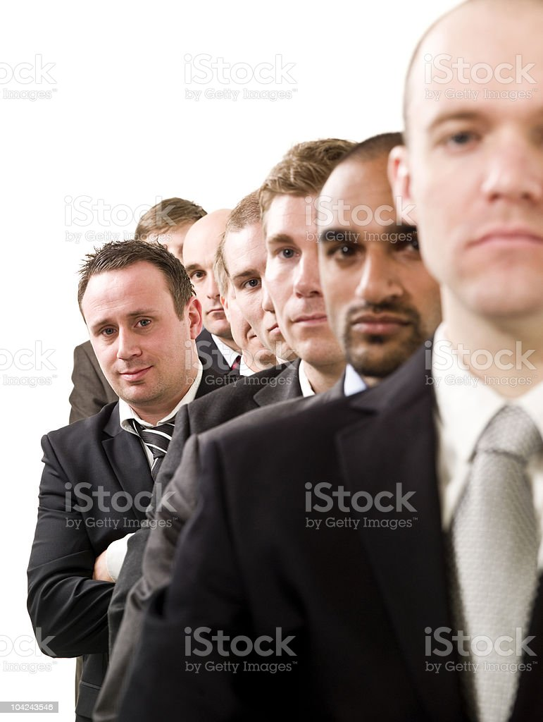 Businessmen on a line royalty-free stock photo