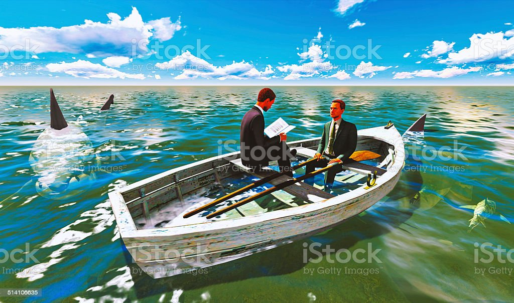businessmen on boat with shark stock photo