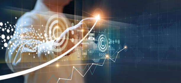 Businessmen point to arrows and business growth graphs on a modern virtual interface on global network, Banking, Stock market and currency exchange. Businessmen pointing to arrows and business growth graphs on a modern virtual interface on global network, Banking, Stock market and currency exchange. the way forward stock pictures, royalty-free photos & images