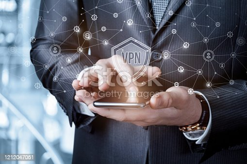 Businessmen running virtual private network on blurry background.