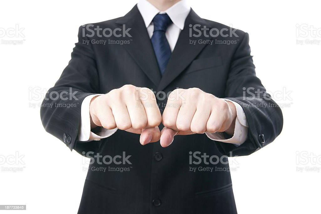 Businessmen shows fists stock photo