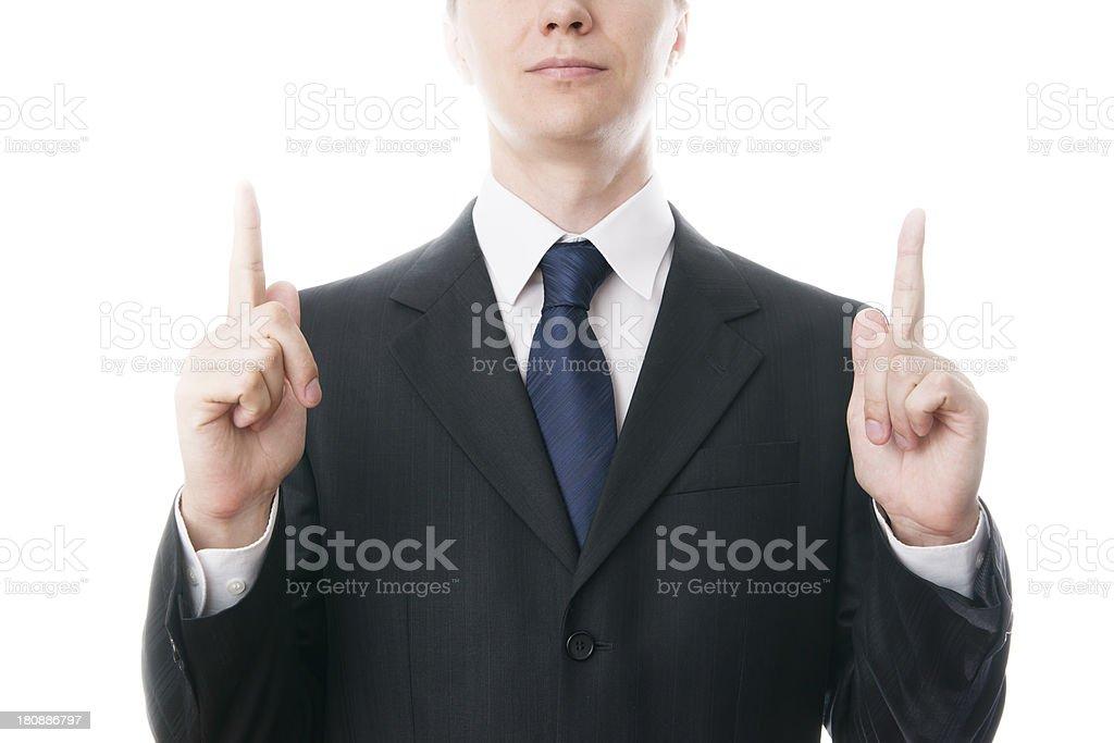 Businessmen shows index finger stock photo