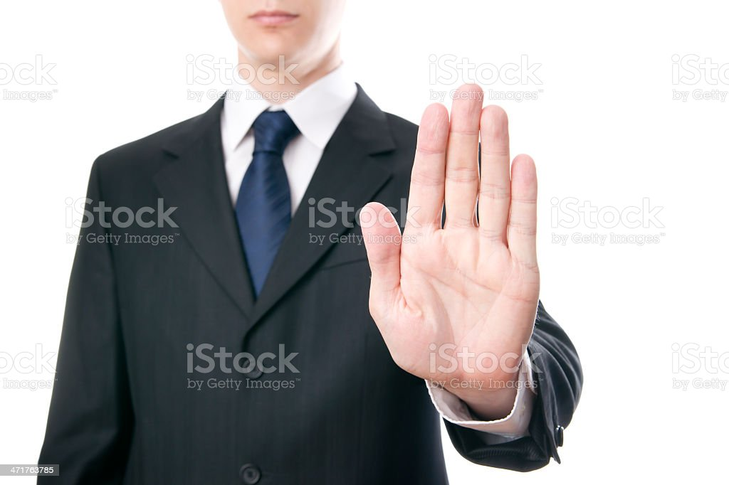 Businessmen shows stop sign stock photo