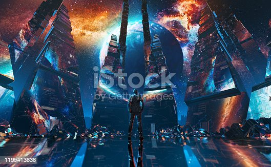 Futuristic 3D render a businessmen standing in the center of a glossy tunnel in an outer space against nebula and unknown planet. 80s retro style. Video Loop