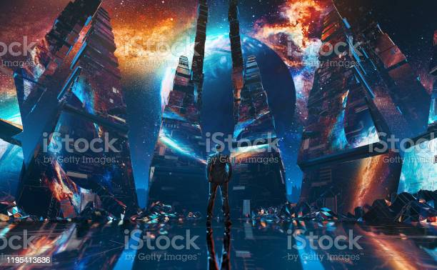 Photo of Businessmen stands in the middle of futuristic tunnel in futuristic tunnel