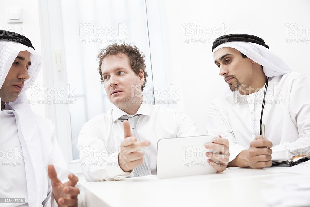 Businessmen talking on a meeting royalty-free stock photo
