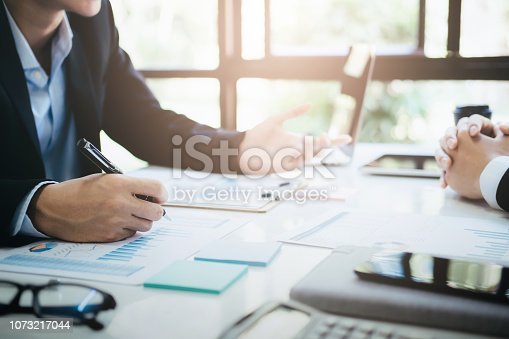 istock Businessmen teamwork meeting to discuss the investment. 1073217044