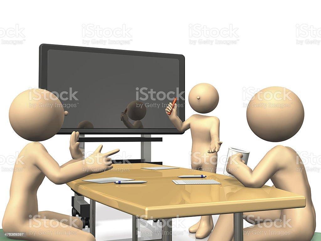 Businessmen to discuss in front of the electronic blackboard stock photo