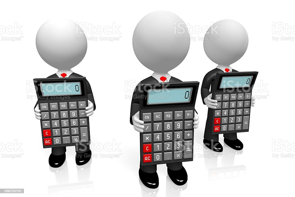 3D businessmen with calculators foto royalty-free