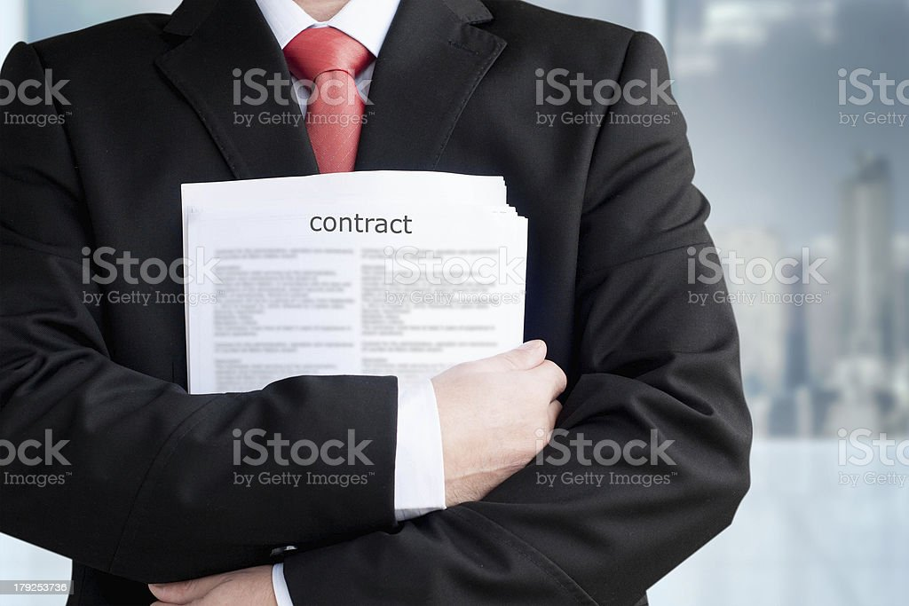 Businessmen with contract royalty-free stock photo