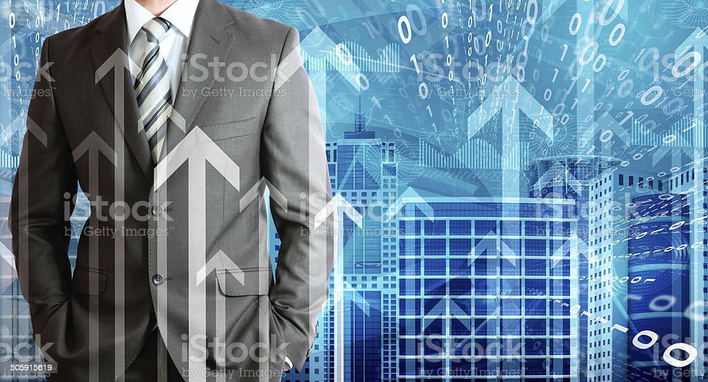 Businessmen with skyscrapers, graphs and arrows royalty-free stock photo