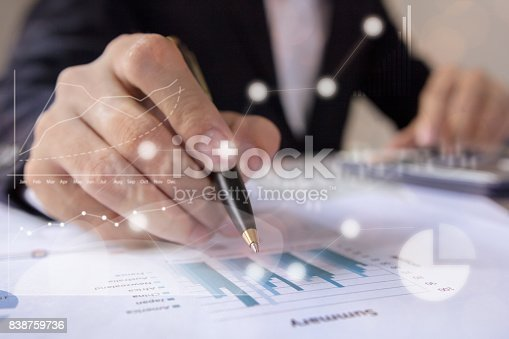 istock Businessmen working with graph data at office,Finance managers task,Concept business and finance investment 838759736