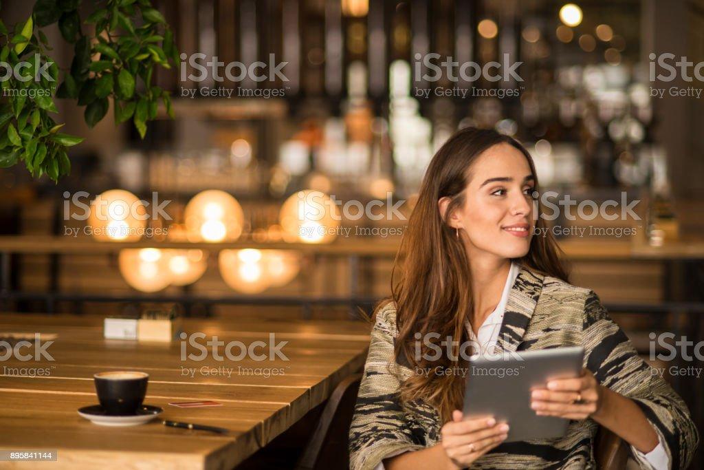 Businessoman using digital tablet stock photo