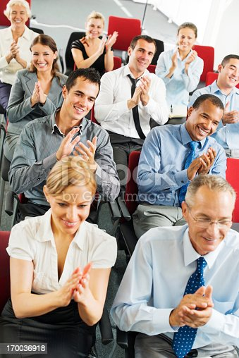 640177838 istock photo Businesspeople applauding during seminar 170036918