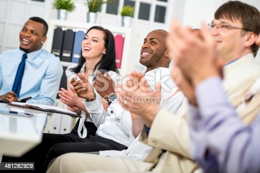 511305456 istock photo Businesspeople applauding 481282929