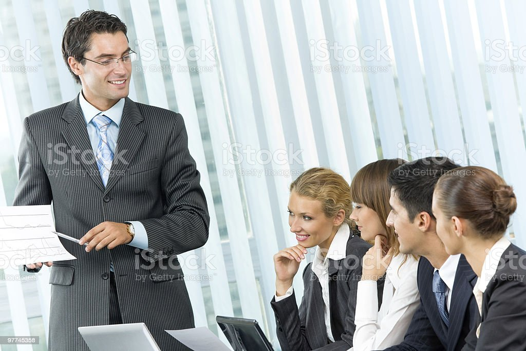 Businesspeople at business meeting, seminar or conference royalty-free stock photo
