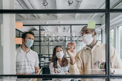 Businesspeople brainstorming work during the Covid-19 pandemic