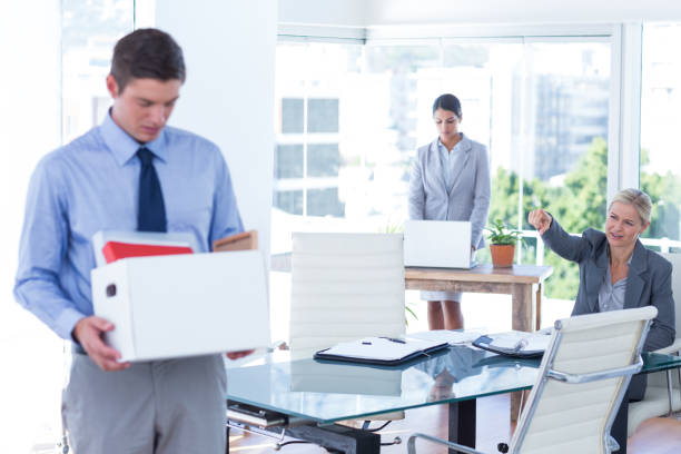 businesspeople carrying their belongings in box - leaving partnership corporate business sitting stock photos and pictures