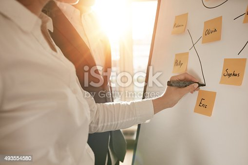 497451790 istock photo Businesspeople constructing new sales team in conference room 493554580