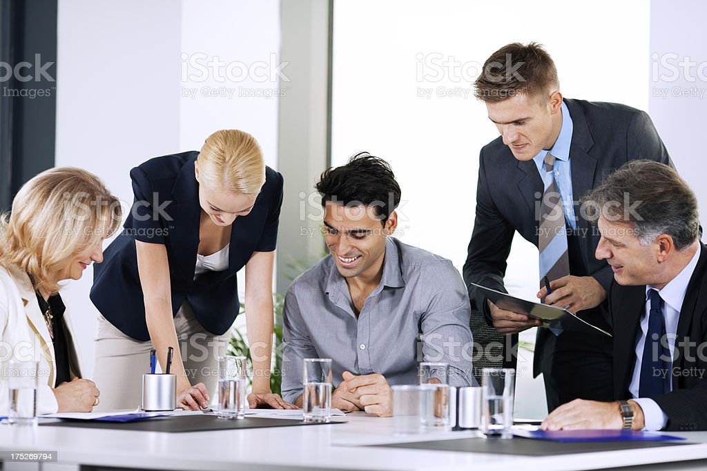 Businesspeople discussing on a meeting royalty-free stock photo