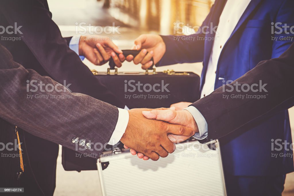 businesspeople group handshake at city, business team - Royalty-free Adult Stock Photo