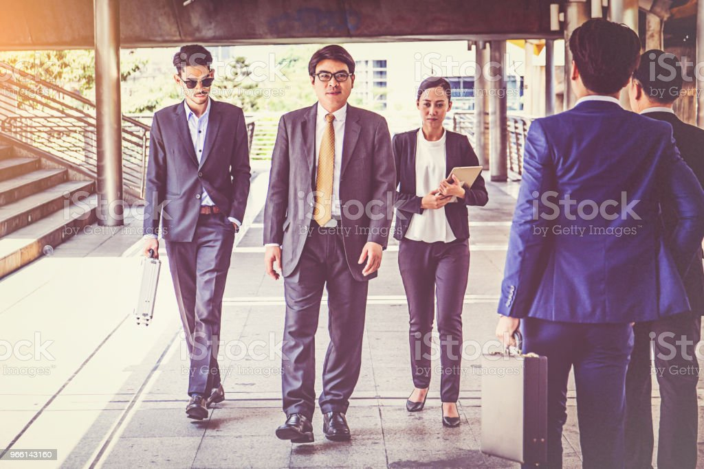businesspeople group walking at city, business team - Royalty-free Adult Stock Photo